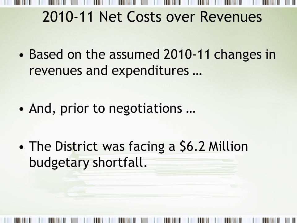 2010-11 Net Costs over Revenues Based on the assumed 2010-11 changes in revenues and expenditures … And, prior to negotiations … The District was faci