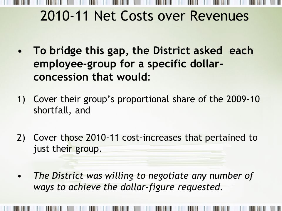2010-11 Net Costs over Revenues To bridge this gap, the District asked each employee-group for a specific dollar- concession that would: 1)Cover their group's proportional share of the 2009-10 shortfall, and 2)Cover those 2010-11 cost-increases that pertained to just their group.