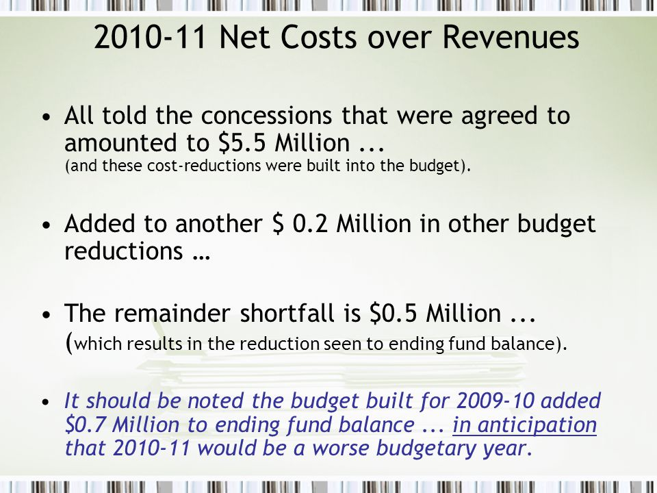 2010-11 Net Costs over Revenues All told the concessions that were agreed to amounted to $5.5 Million...