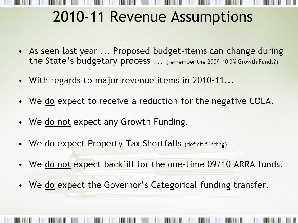 2010-11 Expenditure Assumptions Prior to negotiations … initial 2010-11 Expenditure projections assumed...