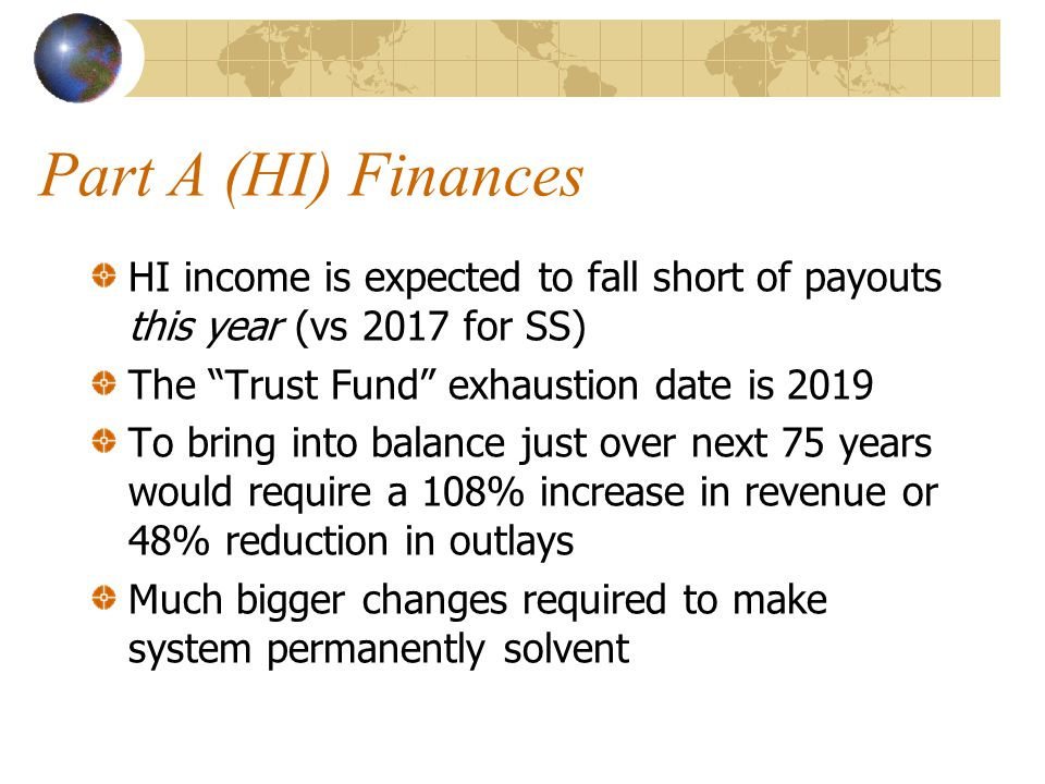 Part A (HI) Finances HI income is expected to fall short of payouts this year (vs 2017 for SS) The Trust Fund exhaustion date is 2019 To bring into balance just over next 75 years would require a 108% increase in revenue or 48% reduction in outlays Much bigger changes required to make system permanently solvent