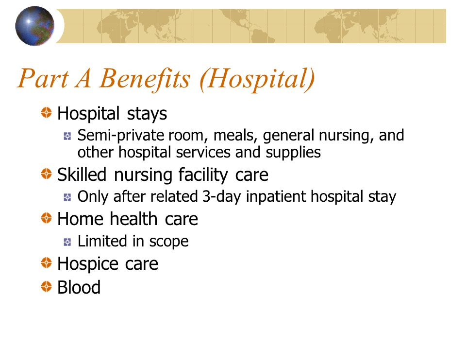 Part A Benefits (Hospital) Hospital stays Semi-private room, meals, general nursing, and other hospital services and supplies Skilled nursing facility care Only after related 3-day inpatient hospital stay Home health care Limited in scope Hospice care Blood