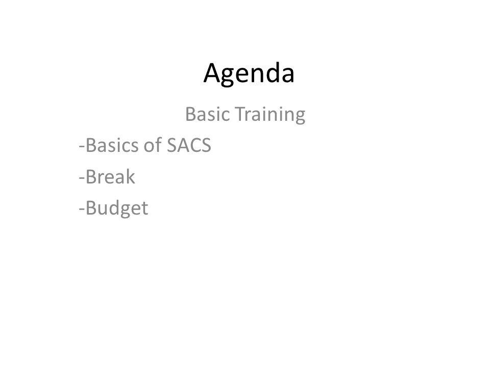 Agenda Basic Training -Basics of SACS -Break -Budget