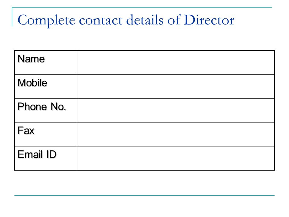 Complete contact details of Director Name Mobile Phone No. Fax Email ID