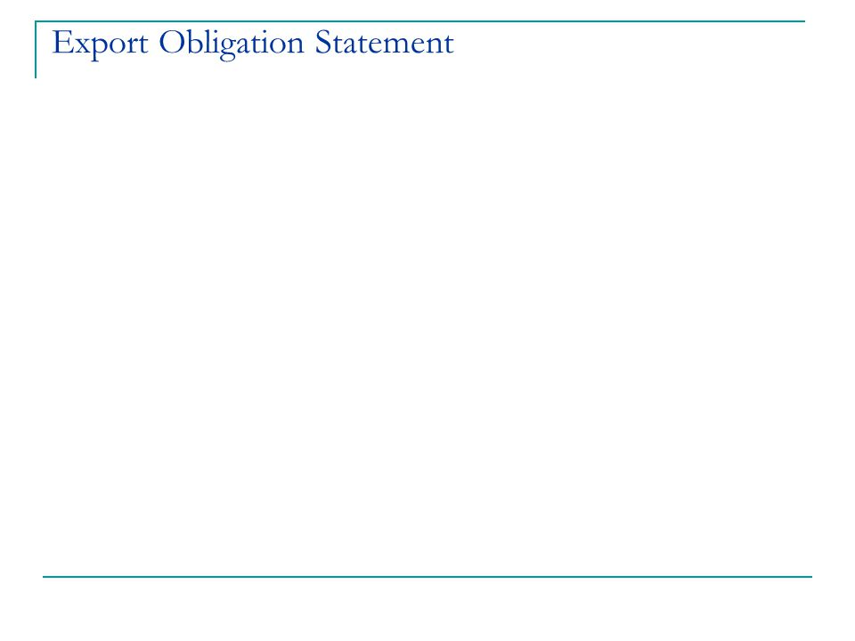 Export Obligation Statement