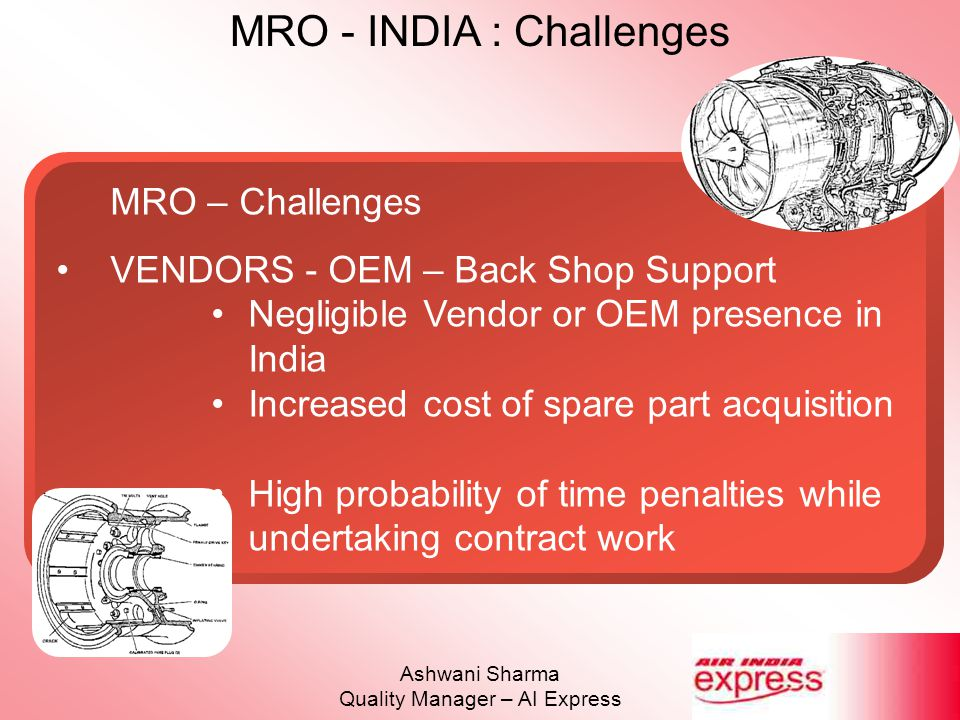 MRO - INDIA : Challenges Ashwani Sharma Quality Manager – AI Express MRO – Challenges VENDORS - OEM – Back Shop Support Negligible Vendor or OEM prese
