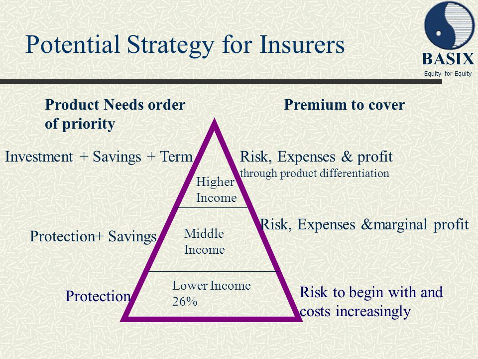 BASIX Equity for Equity Potential Strategy for Insurers Protection Risk to begin with and costs increasingly Middle Income Higher Income Lower Income