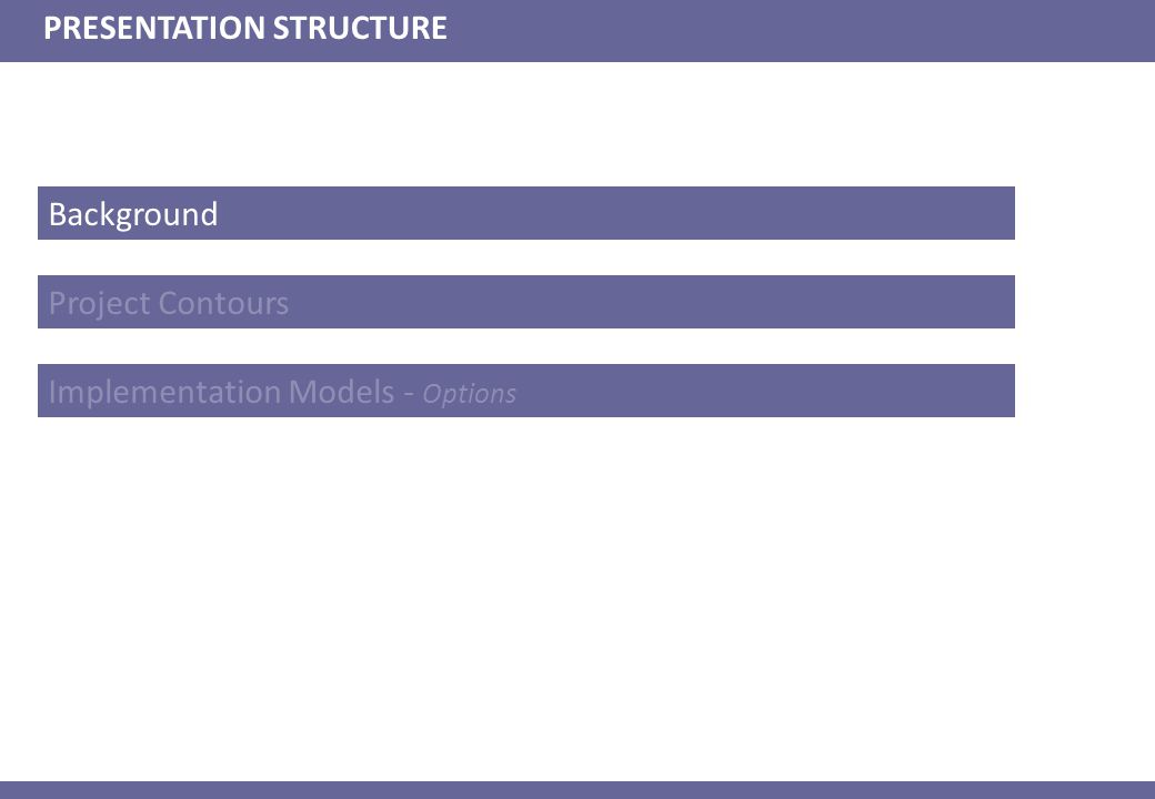 PRESENTATION STRUCTURE Project Contours Implementation Models - Options Background