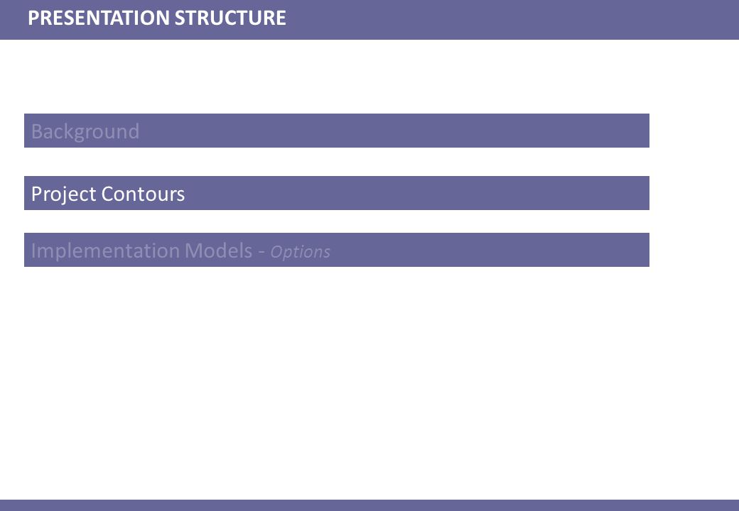 Background PRESENTATION STRUCTURE Project Contours Implementation Models - Options