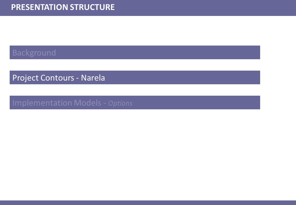 Background PRESENTATION STRUCTURE Project Contours - Narela Implementation Models - Options