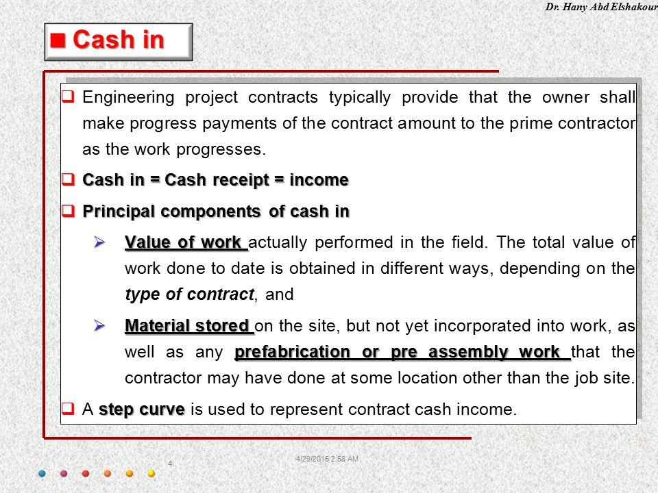 Dr. Hany Abd Elshakour 4/29/2015 3:00 AM 4  Engineering project contracts typically provide that the owner shall make progress payments of the contra