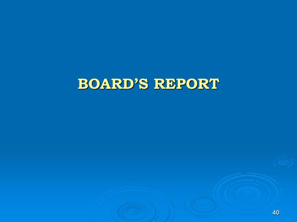 40 BOARD'S REPORT