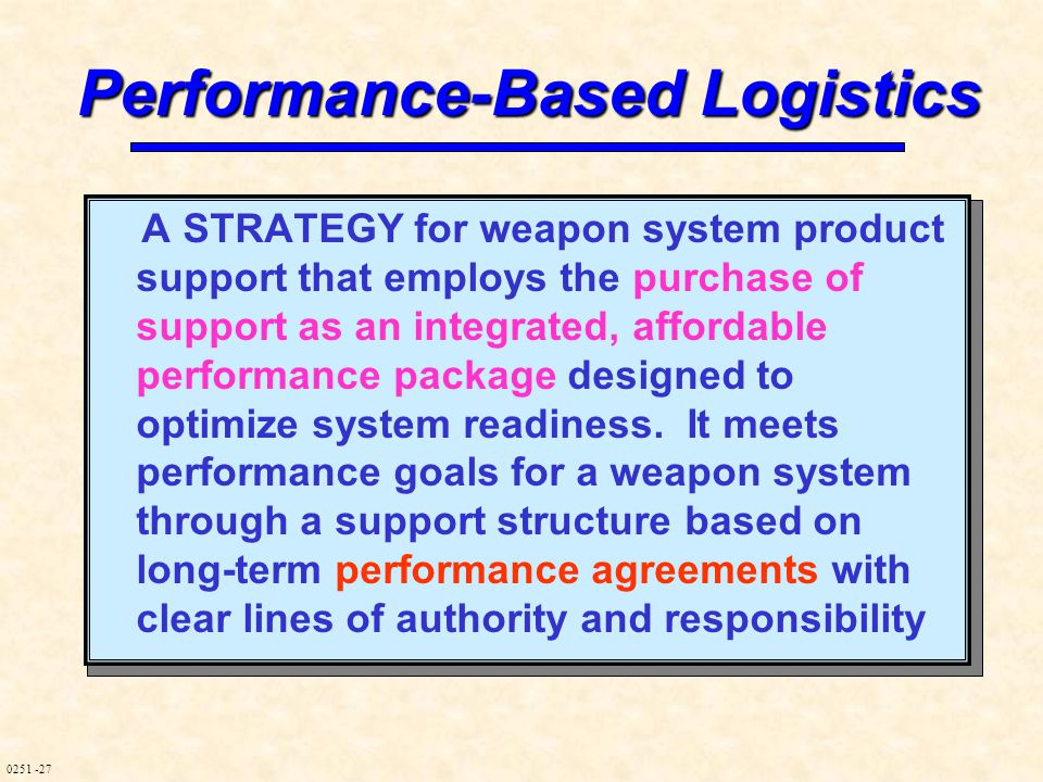 0251 -27 Performance-Based Logistics A STRATEGY for weapon system product support that employs the purchase of support as an integrated, affordable pe