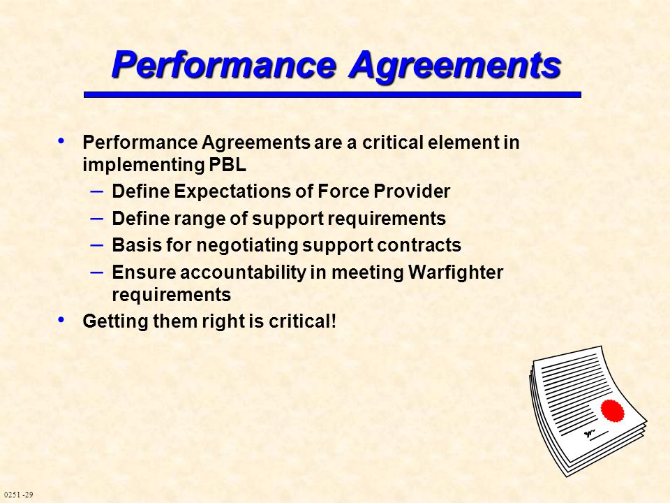 0251 -29 Performance Agreements Performance Agreements are a critical element in implementing PBL – Define Expectations of Force Provider – Define ran