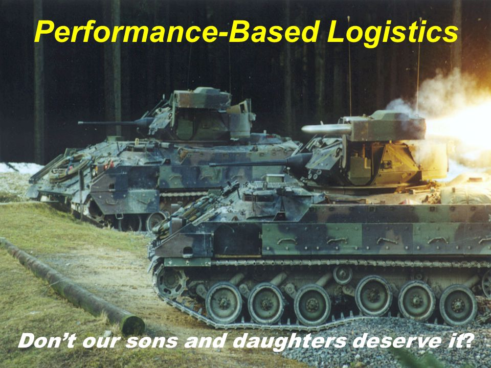 0251 -27 Performance-Based Logistics A STRATEGY for weapon system product support that employs the purchase of support as an integrated, affordable performance package designed to optimize system readiness.