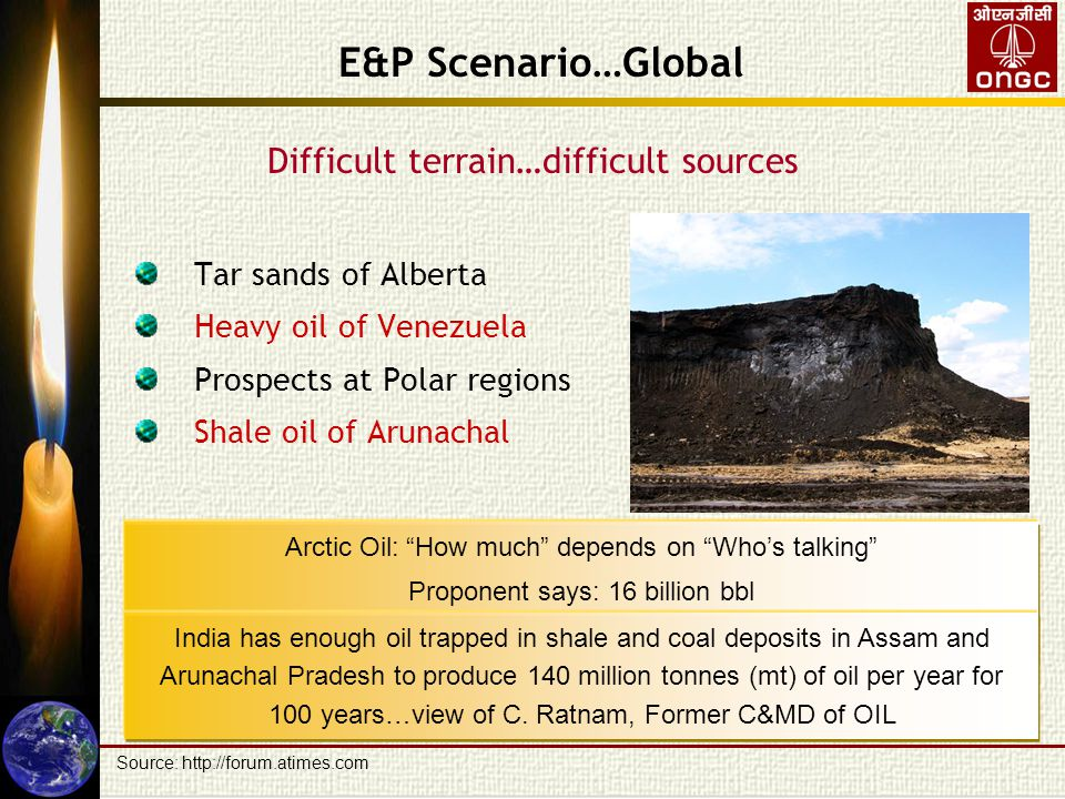 Difficult terrain…difficult sources Tar sands of Alberta Heavy oil of Venezuela Prospects at Polar regions Shale oil of Arunachal E&P Scenario…Global Arctic Oil: How much depends on Who's talking Proponent says: 16 billion bbl Opponent says: 3 billion bbl India has enough oil trapped in shale and coal deposits in Assam and Arunachal Pradesh to produce 140 million tonnes (mt) of oil per year for 100 years…view of C.