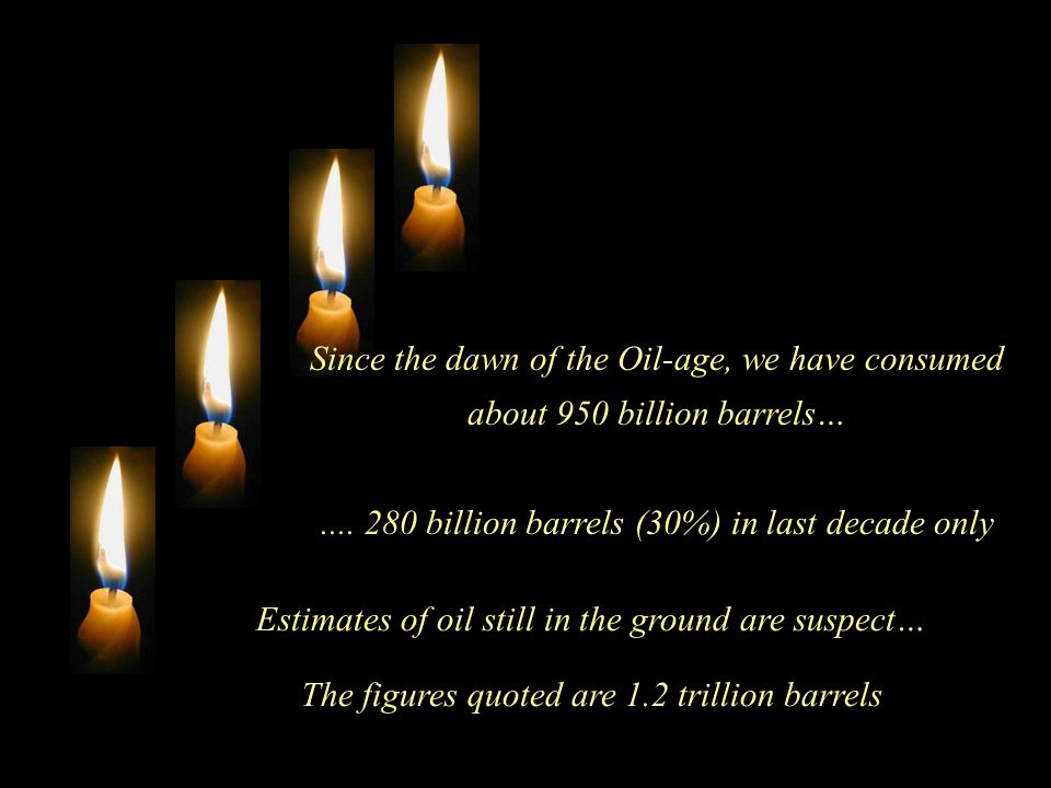 Estimates of oil still in the ground are suspect… The figures quoted are 1.2 trillion barrels Since the dawn of the Oil-age, we have consumed about 950 billion barrels…....