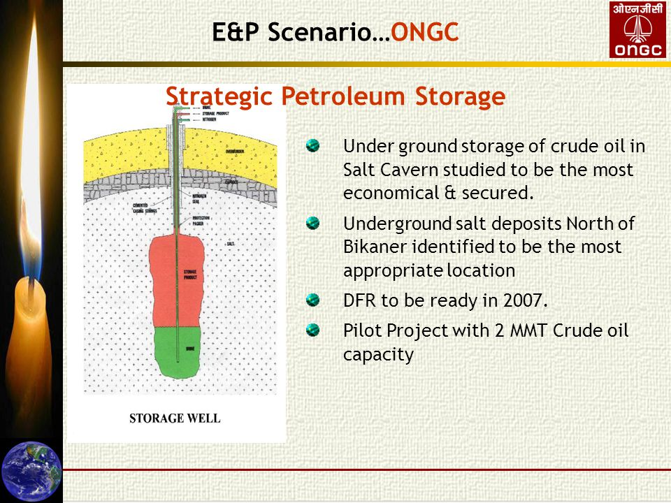 Strategic Petroleum Storage Under ground storage of crude oil in Salt Cavern studied to be the most economical & secured.