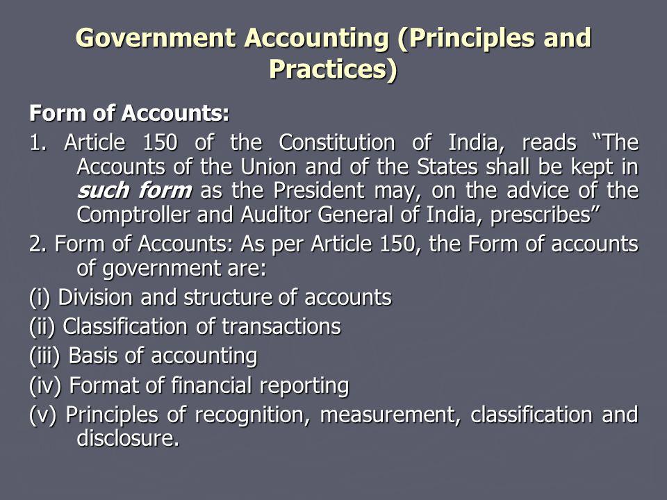 Form of Accounts: 1.
