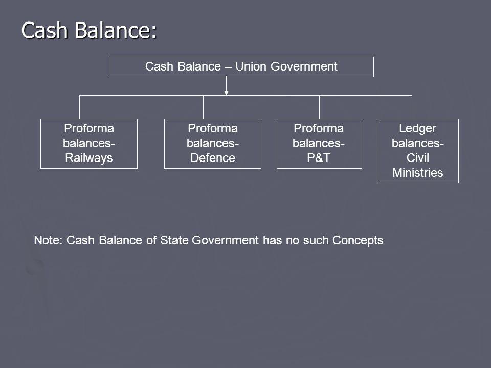 Cash Balance: Cash Balance – Union Government Proforma balances- Railways Proforma balances- Defence Proforma balances- P&T Ledger balances- Civil Ministries Note: Cash Balance of State Government has no such Concepts