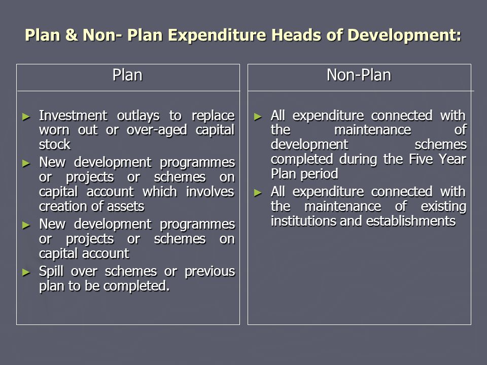 Plan & Non- Plan Expenditure Heads of Development: Plan ► Investment outlays to replace worn out or over-aged capital stock ► New development programm