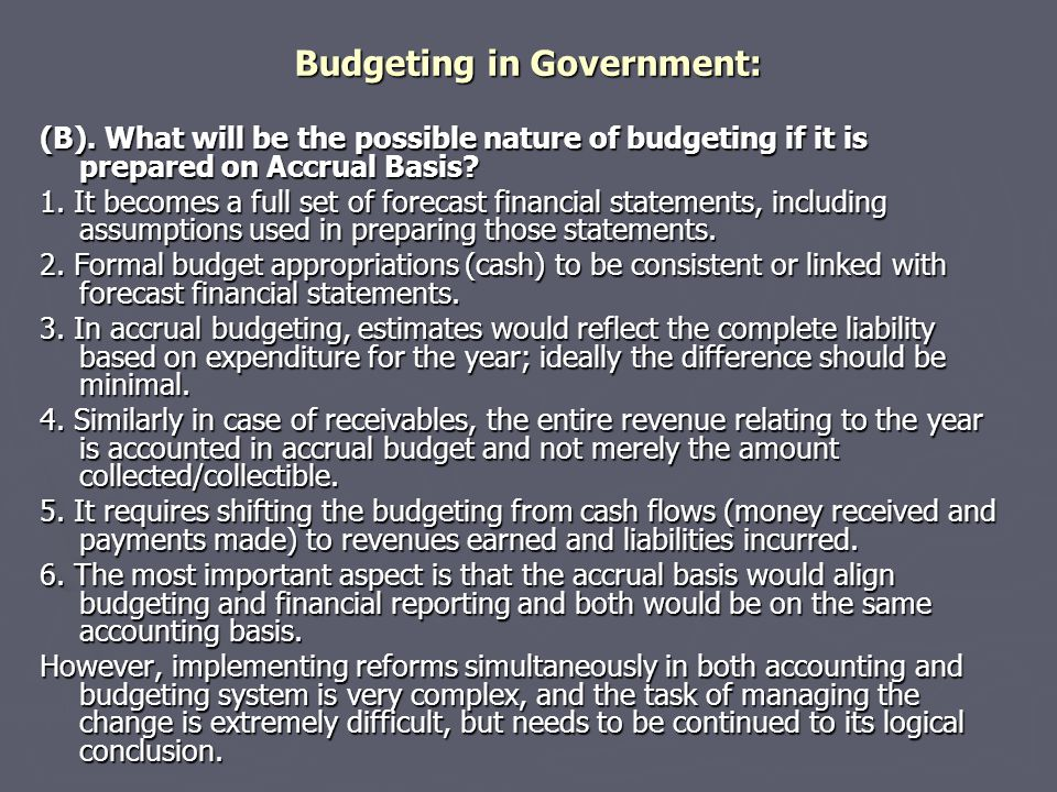 Budgeting in Government: (B).