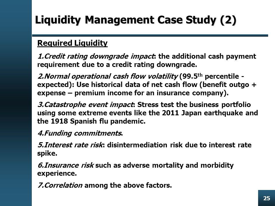 Enterprise Risk Management 25 Liquidity ManagementCase Study (2) Liquidity Management Case Study (2) Required Liquidity 1.Credit rating downgrade impact: the additional cash payment requirement due to a credit rating downgrade.