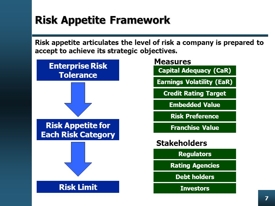 Enterprise Risk Management 7 Risk Appetite Framework Risk appetite articulates the level of risk a company is prepared to accept to achieve its strategic objectives.