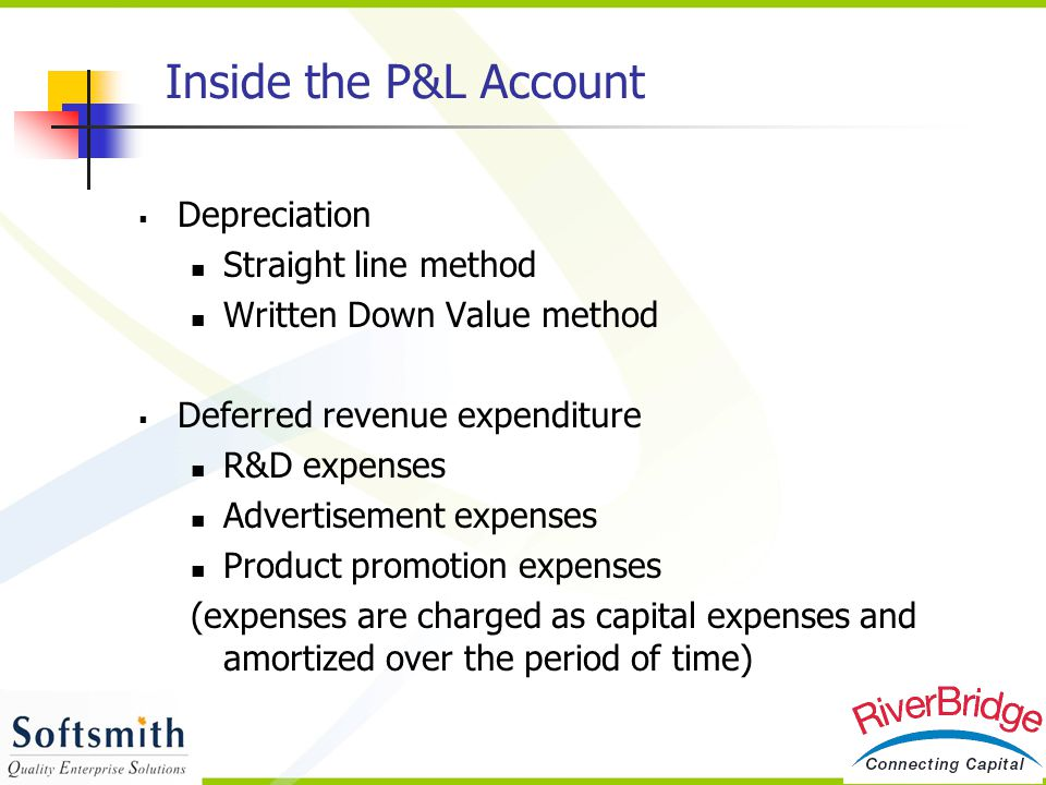  Depreciation Straight line method Written Down Value method  Deferred revenue expenditure R&D expenses Advertisement expenses Product promotion exp