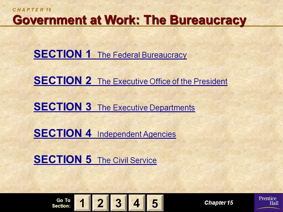 123 Go To Section: 4 5 Government at Work: The Bureaucracy C H A P T E R 15 Government at Work: The Bureaucracy SECTION 1 The Federal Bureaucracy SECTION 2 The Executive Office of the President SECTION 3 The Executive Departments SECTION 4 Independent Agencies SECTION 5 The Civil Service Chapter 15 2222 3333 4444 1111 5555
