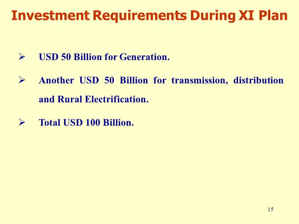 15 Investment Requirements During XI Plan  USD 50 Billion for Generation.