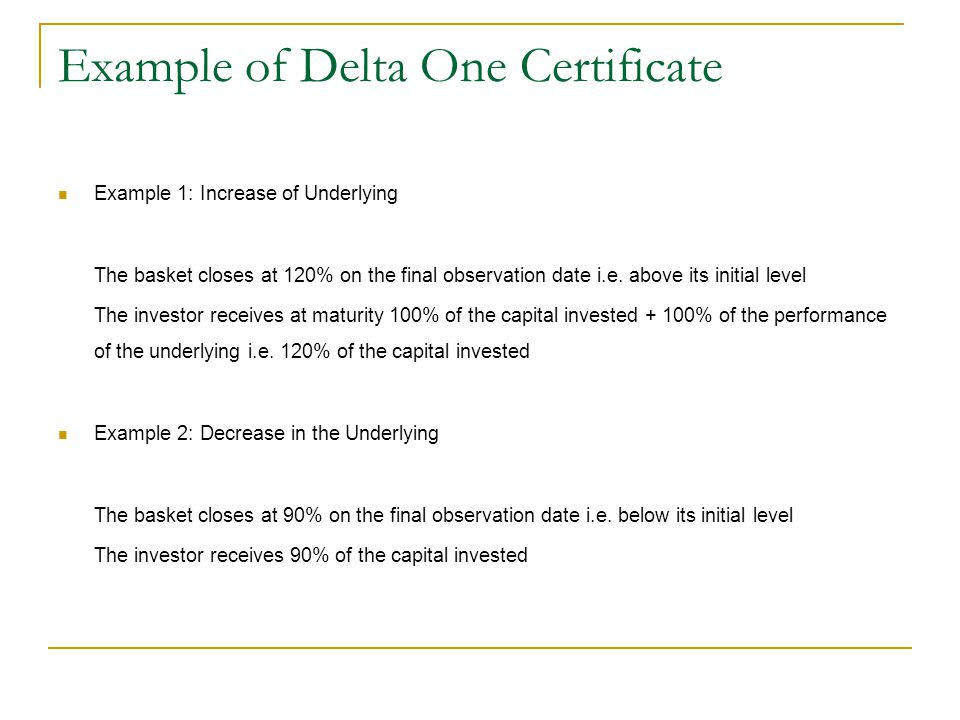 Example of Delta One Certificate Example 1: Increase of Underlying The basket closes at 120% on the final observation date i.e. above its initial leve