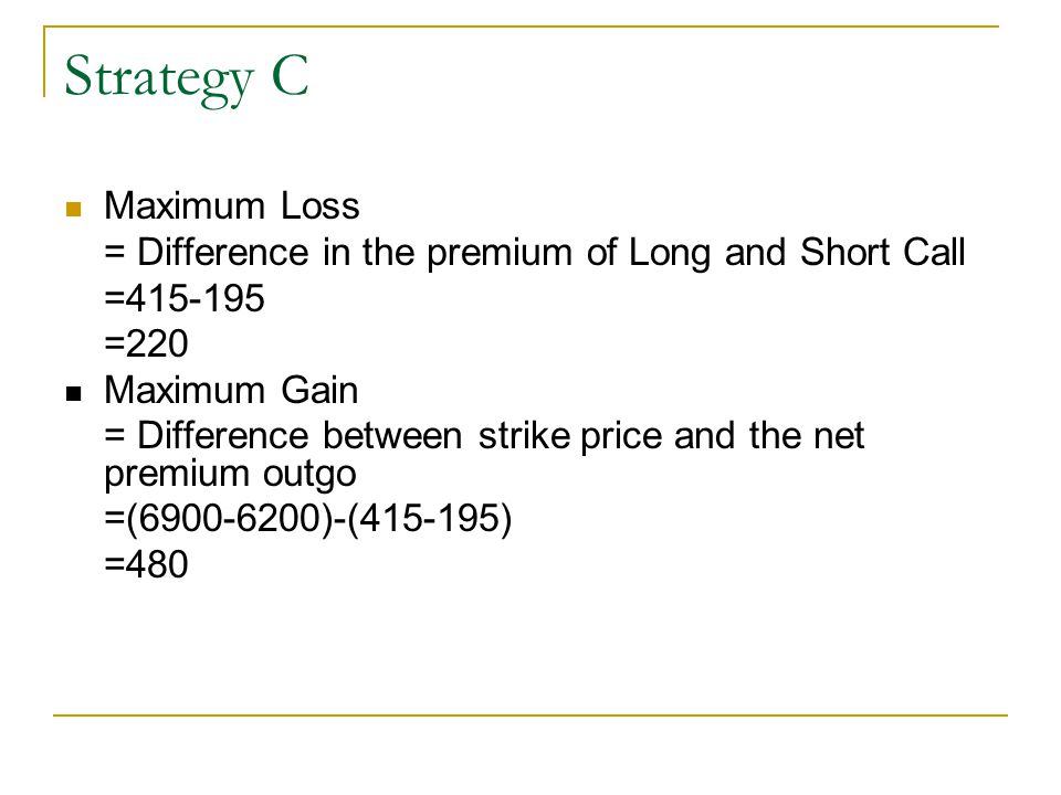 Strategy C Maximum Loss = Difference in the premium of Long and Short Call =415-195 =220 Maximum Gain = Difference between strike price and the net pr