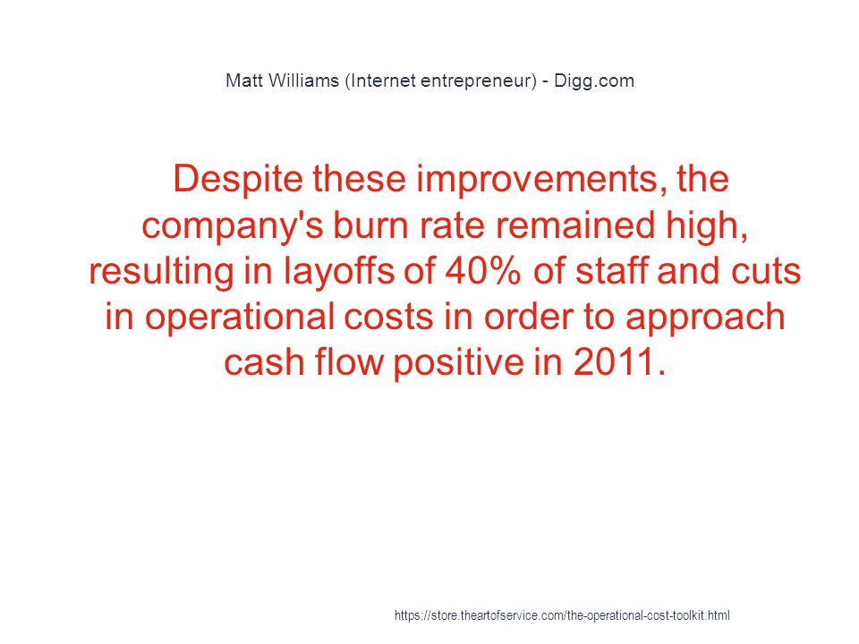 Matt Williams (Internet entrepreneur) - Digg.com 1 Despite these improvements, the company s burn rate remained high, resulting in layoffs of 40% of staff and cuts in operational costs in order to approach cash flow positive in 2011.