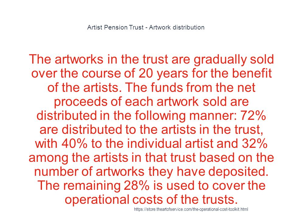 Artist Pension Trust - Artwork distribution 1 The artworks in the trust are gradually sold over the course of 20 years for the benefit of the artists.