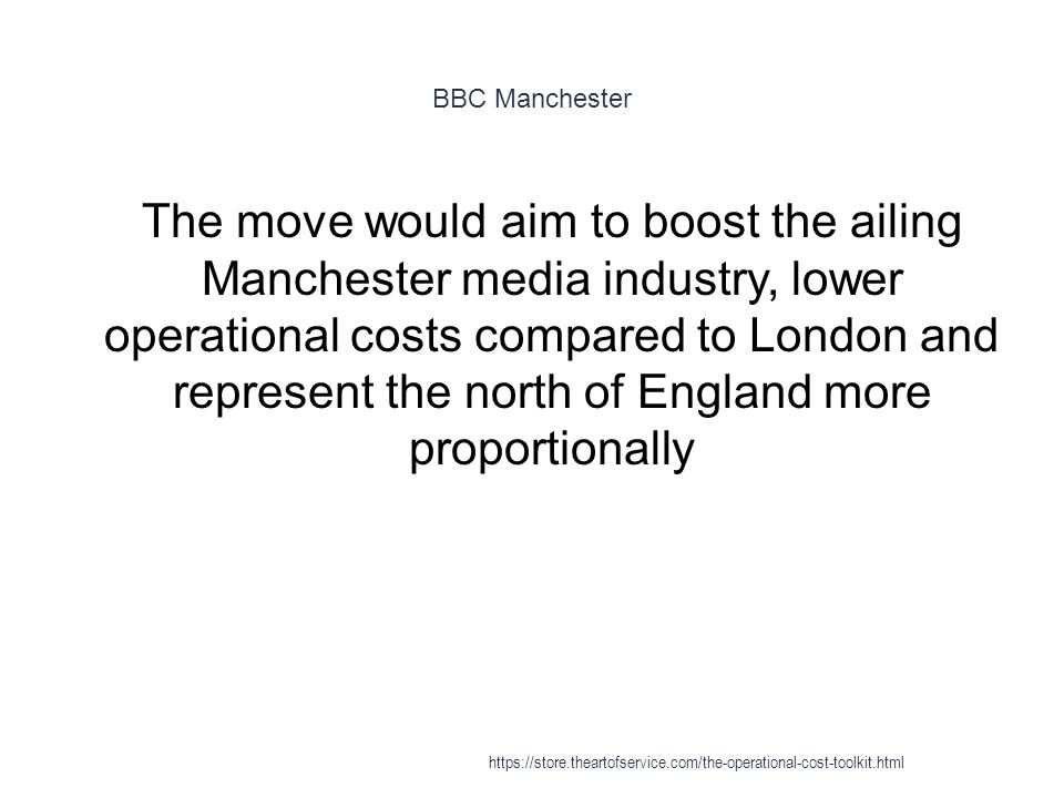 BBC Manchester 1 The move would aim to boost the ailing Manchester media industry, lower operational costs compared to London and represent the north of England more proportionally https://store.theartofservice.com/the-operational-cost-toolkit.html