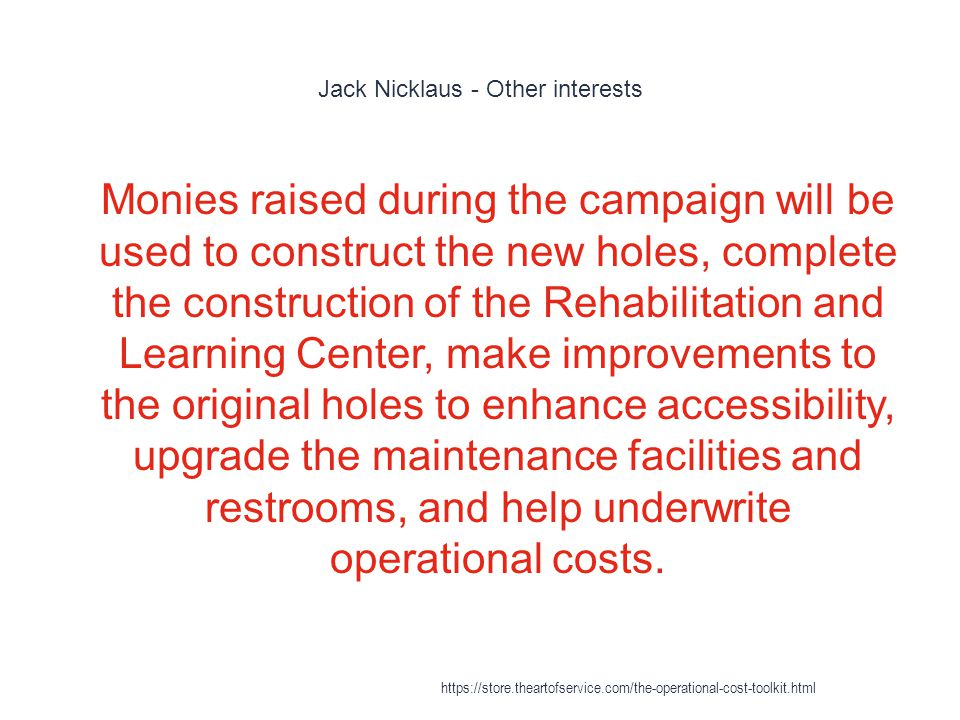 Jack Nicklaus - Other interests 1 Monies raised during the campaign will be used to construct the new holes, complete the construction of the Rehabilitation and Learning Center, make improvements to the original holes to enhance accessibility, upgrade the maintenance facilities and restrooms, and help underwrite operational costs.