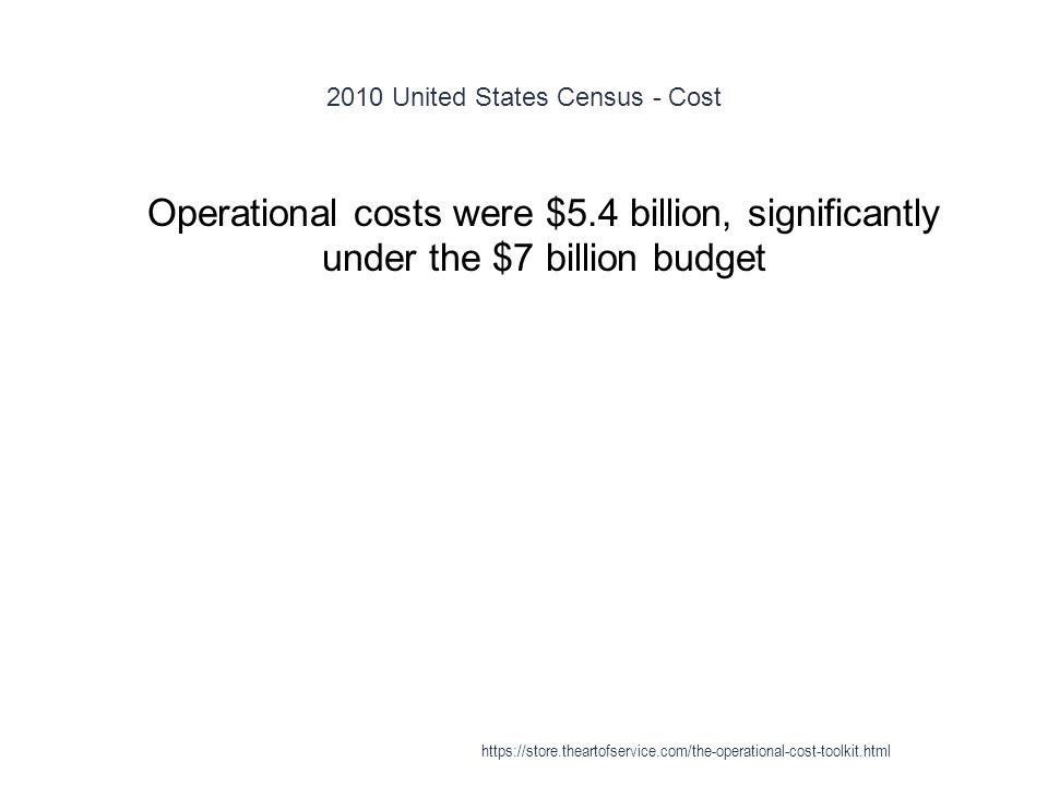 2010 United States Census - Cost 1 Operational costs were $5.4 billion, significantly under the $7 billion budget https://store.theartofservice.com/the-operational-cost-toolkit.html