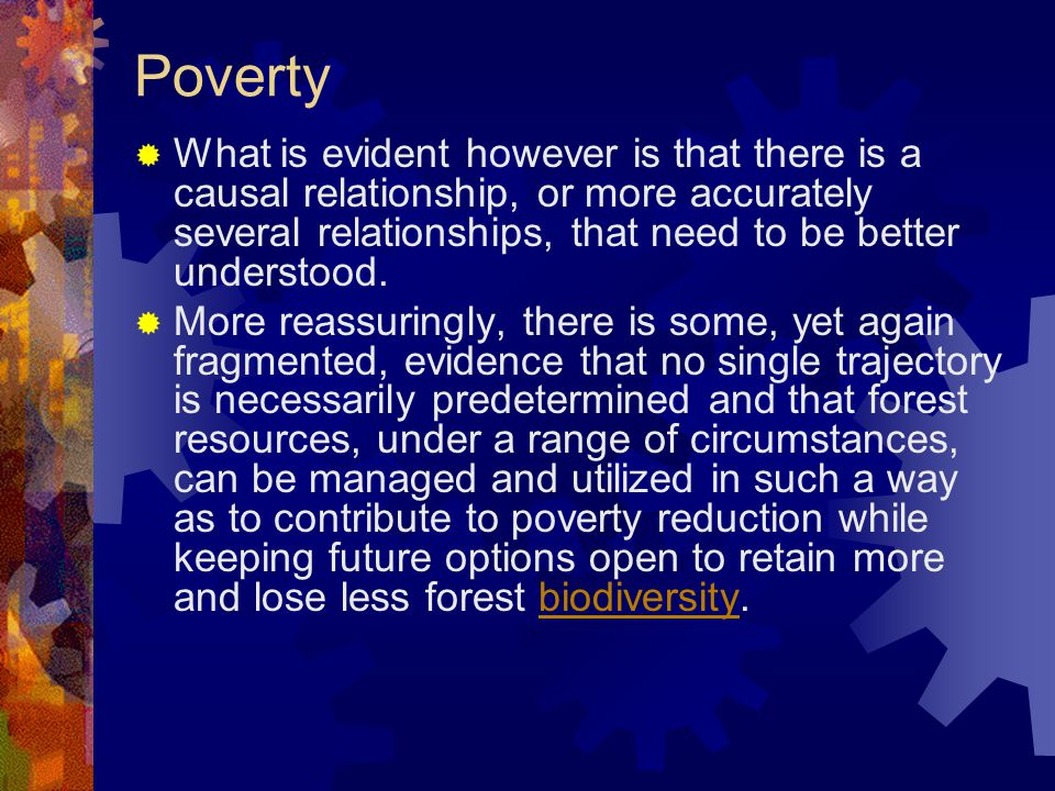 Poverty  What is evident however is that there is a causal relationship, or more accurately several relationships, that need to be better understood.