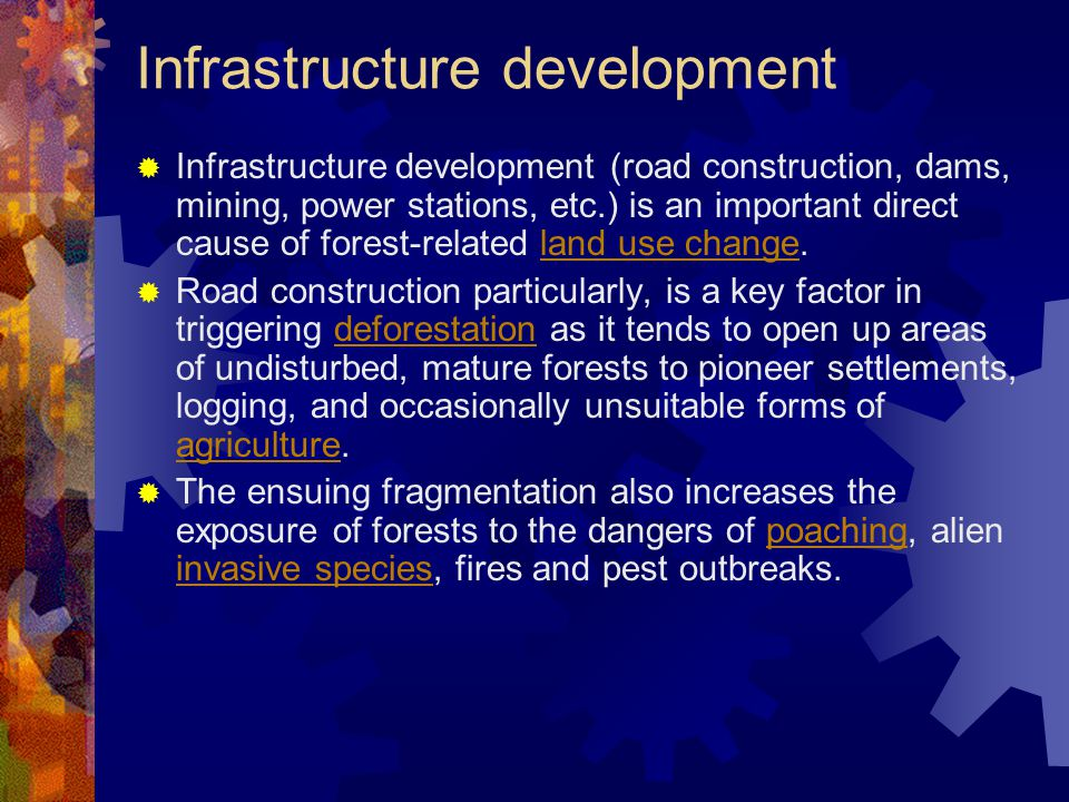 Infrastructure development  Infrastructure development (road construction, dams, mining, power stations, etc.) is an important direct cause of forest-related land use change.land use change  Road construction particularly, is a key factor in triggering deforestation as it tends to open up areas of undisturbed, mature forests to pioneer settlements, logging, and occasionally unsuitable forms of agriculture.deforestation agriculture  The ensuing fragmentation also increases the exposure of forests to the dangers of poaching, alien invasive species, fires and pest outbreaks.poaching invasive species