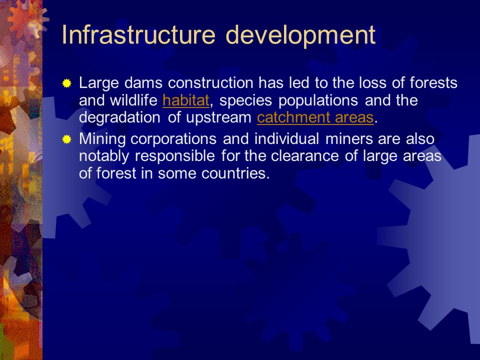 Infrastructure development  Large dams construction has led to the loss of forests and wildlife habitat, species populations and the degradation of upstream catchment areas.habitatcatchment areas  Mining corporations and individual miners are also notably responsible for the clearance of large areas of forest in some countries.