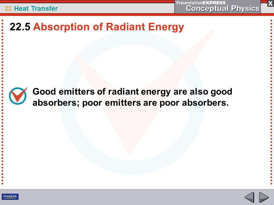 22 Heat Transfer Good emitters of radiant energy are also good absorbers; poor emitters are poor absorbers. 22.5 Absorption of Radiant Energy