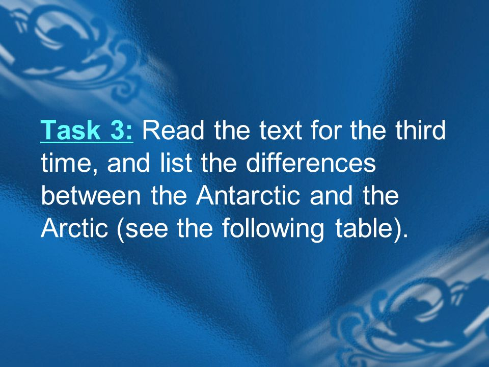 Task 3: Read the text for the third time, and list the differences between the Antarctic and the Arctic (see the following table).
