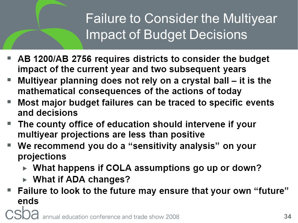 34 Failure to Consider the Multiyear Impact of Budget Decisions  AB 1200/AB 2756 requires districts to consider the budget impact of the current year and two subsequent years  Multiyear planning does not rely on a crystal ball – it is the mathematical consequences of the actions of today  Most major budget failures can be traced to specific events and decisions  The county office of education should intervene if your multiyear projections are less than positive  We recommend you do a sensitivity analysis on your projections  What happens if COLA assumptions go up or down.