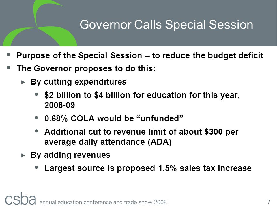 8 Proposition 98 Projections  Proposition 98 simply isn't growing fast enough to provide a COLA  Proposition 111 allows the state to short education during bad times  Most of the 5.66% COLA for 2008-09 has already been deficited  The Governor's proposal would take back the remaining 0.68%  We recommend districts also plan for a zero COLA for 2009-10