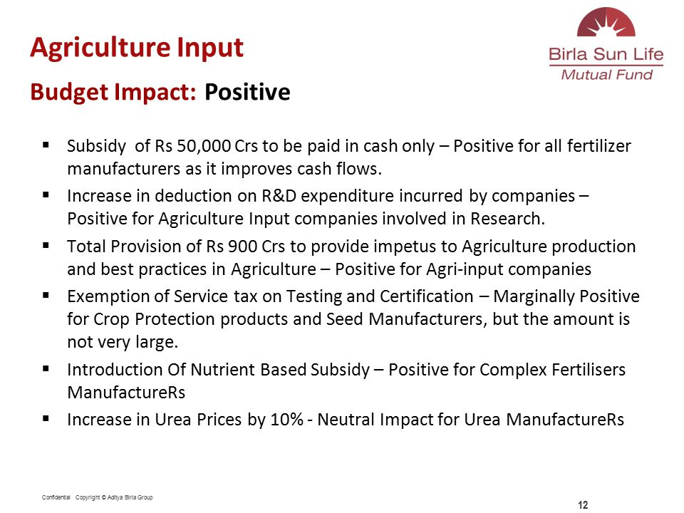 Confidential Copyright © Aditya Birla Group  Subsidy of Rs 50,000 Crs to be paid in cash only – Positive for all fertilizer manufacturers as it improves cash flows.