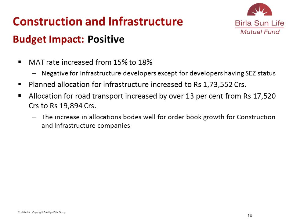 Confidential Copyright © Aditya Birla Group  MAT rate increased from 15% to 18% –Negative for Infrastructure developers except for developers having SEZ status  Planned allocation for infrastructure increased to Rs 1,73,552 Crs.