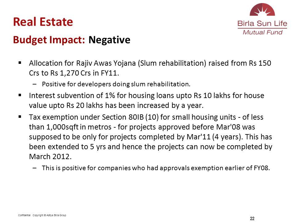 Confidential Copyright © Aditya Birla Group  Allocation for Rajiv Awas Yojana (Slum rehabilitation) raised from Rs 150 Crs to Rs 1,270 Crs in FY11.