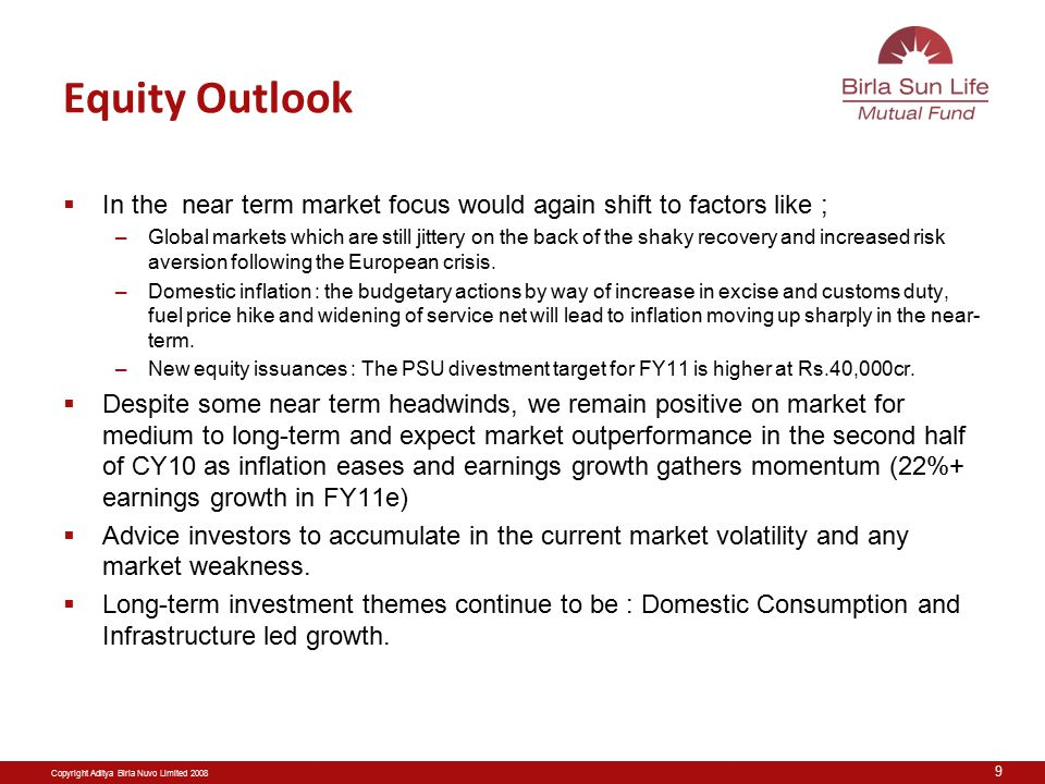 Copyright Aditya Birla Nuvo Limited 2008 Equity Outlook  In the near term market focus would again shift to factors like ; –Global markets which are still jittery on the back of the shaky recovery and increased risk aversion following the European crisis.