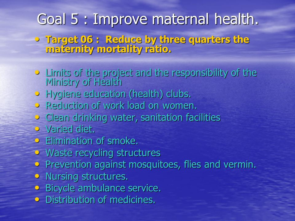 Goal 5 : Improve maternal health. Target 06 : Reduce by three quarters the maternity mortality ratio. Target 06 : Reduce by three quarters the materni